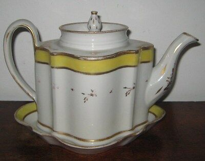 Rare Early New Hall Teapot & Stand Yellow Band Gilt Floral Sprigs C1790S