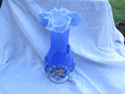 MURANO BLUE CASED GLASS VASE WITH APPLIED FLOWER - 19.5cms HIGH