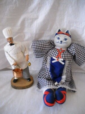 Set of 2 KITCHEN DOLLS  1 CHEF on Wooden Base 1 PORCELAIN Cat STUFFED Red&Blue