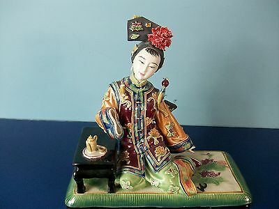 Oriental Porcelain Lady Figurine Believed to be Shiwan Master Ceramic