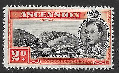 Ascension 1949 2d Black & Red-Orange with Mountaineer Flaw SG 41ba (Mint)