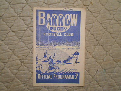 Barrow V Salford Rugby League Match Programme December 1953