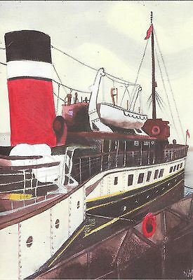 Paddle Steamer PS Waverley River Thames Town Pier Gravesend Blank Greetings Card