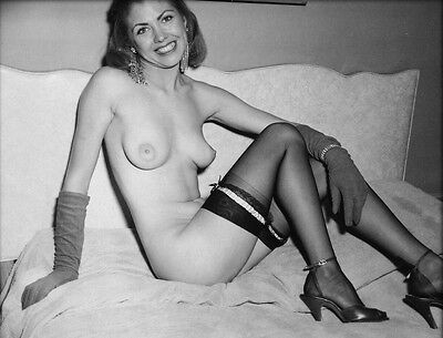 1960s Pinup Nude Sitting On Bed In Black Stockings and Gloves 8 x 10 Photograph