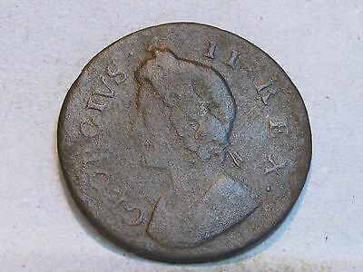 George Ii Copper Farthing Coin  Dated 1736