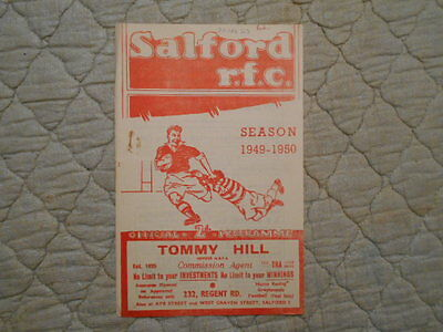 Salford V Rochdale Rugby League Match Programme April 1950