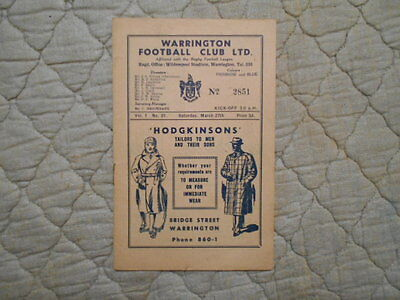 Warrington V Bradford Rugby League Match Programme March 1948