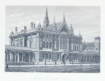 OLD ANTIQUE PRINT LONDON DULWICH COLLEGE GREAT HALL c1870's ENGRAVING