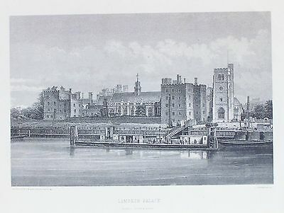 OLD ANTIQUE PRINT LAMBETH PALACE LONDON THAMES c1870's ENGRAVING by L LOWENSTAM