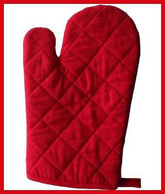Red Quilted Single Kitchen Oven Budget Glove Mitt Padded Insulated Kitchen Bbq