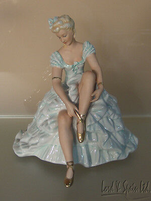 Schaubach-Kunst Germany Seated Ballerina Lacing Shoe Figurine