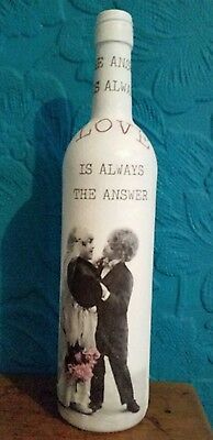Vintage / Shabby Chic Decoupaged Bottle - The Answer Is Always Love