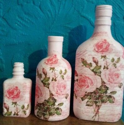 Vintage / Shabby Chic 3 Decoupaged Bottles - Pink Roses