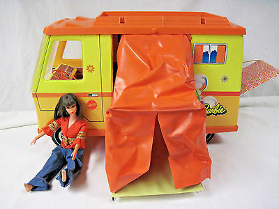 1970 Vintage Barbie Country Camper-Mattel with Fold Out Sleeping Tent & Doll..nt