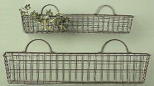 "Set of 2 Wire Wall Baskets - 23"" and 30"" Long Country Baskets"