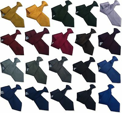 British Woven Mens Plain Clip On Ties - Polyester Satin and Polyester Repp Weave