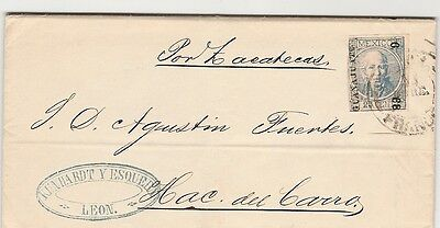 Mexico Guanajuato Leon 25 Cents On Letter Dated Sept 30, 1868.