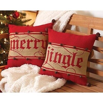Mud Pie Burlap Jingle Bell Pillow Wrap - Pillow Not included - Jingle Wrap Only