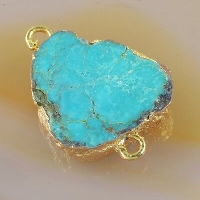 Natural Genuine Turquoise Connector Gold Plated H87316