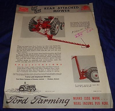 BH1107 Vtg Ford Dearborn Lift Type Rear Attached Mower Dealer Sales Brochure