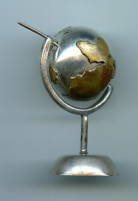 "Silver World Globe ~ Mexico .925 Sterling Silver ~ 3"" Tall"
