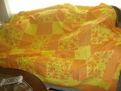 Hand Pieced QUILT TOP Double Bed Size 90 x 76 Peach and Yellow