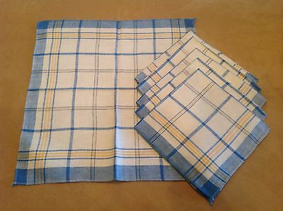 Six Vintage Napkins, Blue, White, Yellow Stripes, Cotton-Linen