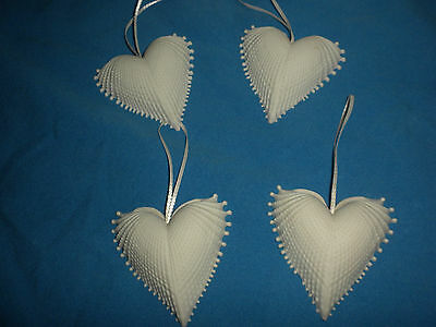 VTG ALL FOUR LOVE (4) Bisque HEART Shaped SHELL Ornaments w/Orig Box