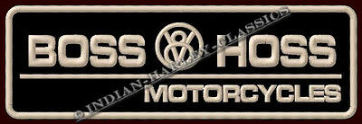 """BOSS HOSS EMBROIDERED PATCH ~5-7/8"""" x 2"""" V8 BIKES & TRIKES POWER MOTORCYCLES"""