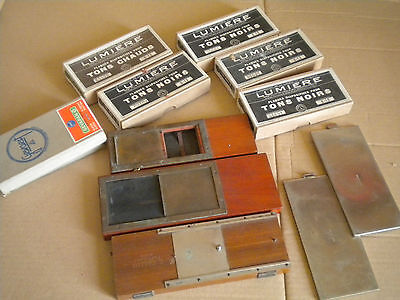 Vintage Plate glass film 6 x 13 cms + printing boxes for stereo slides Caillon