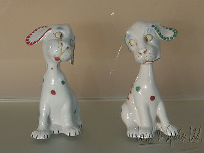 Pair Whimsical Mid Century Opposing Dog Figurines-Germany