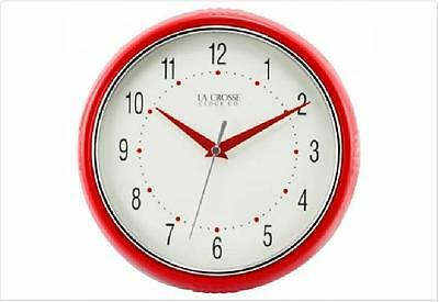 La Crosse Technology 9.5 Inch Red Wall Clock Dome Glass Metal Hands US Seller