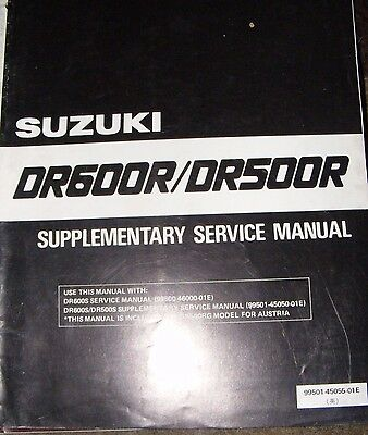 Suzuki Dr650R / Dr500R Supplementary  Service Manual  1986  (Contents Listed)