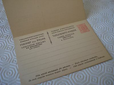 Finland unused double postcard with 10 penni printed stamp on each