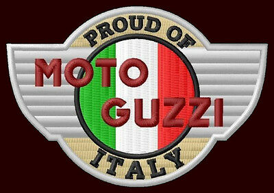 "MOTO GUZZI PROUD EMBROIDERED PATCH ~3-3/4""x 2-3/4"" MOTORCYCLE CALIFORNIA LE MANS"