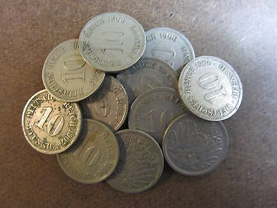 x11 Original German Empire 10 Pfennig Coins Early 1900s