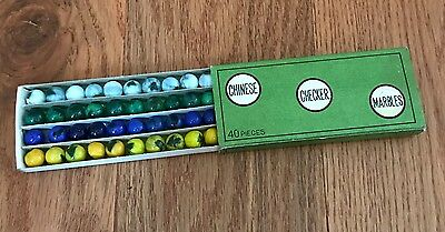 Vintage Box of 40 CHINESE CHECKER MARBLES Made in JAPAN