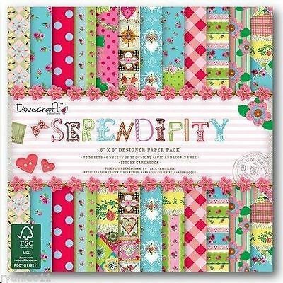 Serendipity Scrapbook Paper by Dovecraft 12 Sheets 6x6""