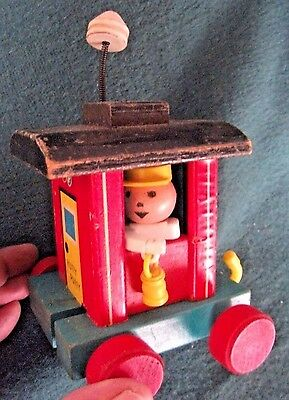 Vintage Fisher Price Huffy Puffy Train Caboose red wheels