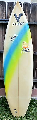 "Vintage Robert August 6'2"" Victory Mango Surfboard With Glass On Fins"