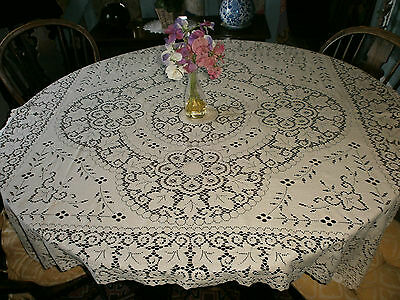 "Vintage Machine Made Nottingham Lace Tablecloth 50""x 43"""