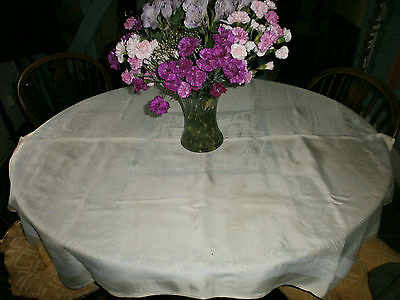 "A Very Pretty Irish Rayon Damask Tablecloth  52"" X 46"""