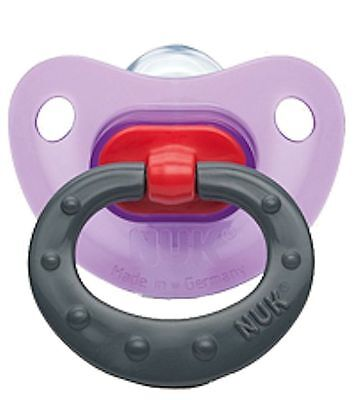 NUK Fashion Baby Pacifier 6-18 Months Silicone Girl Purple Gray Soother 0676-9