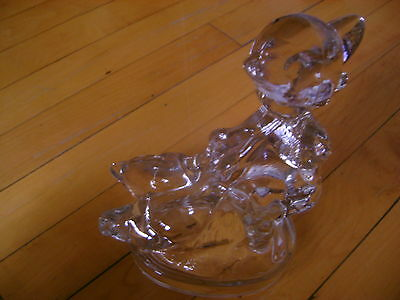 L.e.smith #6630 7 1/2 Crystal Goose Girl-Mint-Weighs 2 3/4Lbs-1978 Catalog