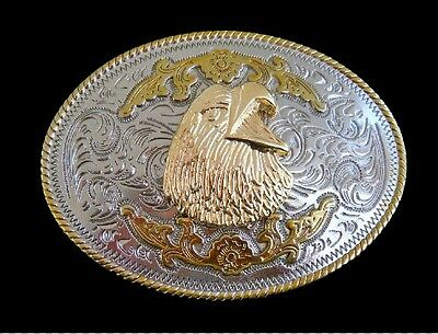American Bald Eagle Gold and Silver Plated Western Belt Buckle Boucle Ceinture