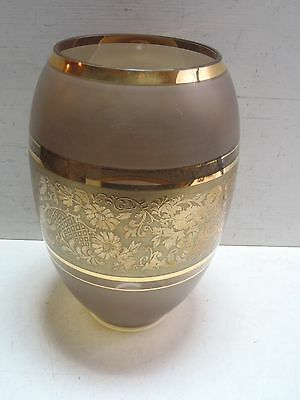 """Baccarat Crystal Vase Smoked Glass Grey w/ Gold Trim & Floral Pattern 9"""" Tall"""