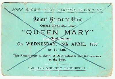 Original 1936 Ticket to View The Queen Mary, Cunard White Star Liner