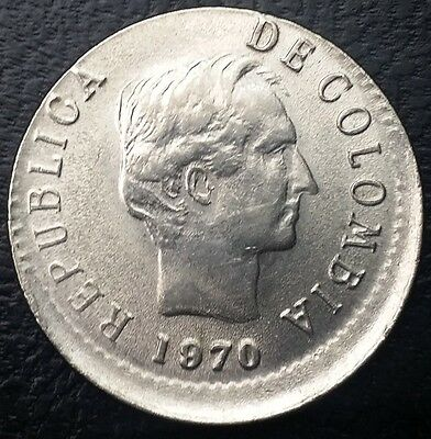 1970 Colombia 20 Centavos Coin **MAJOR OFF CENTER STRIKE ERROR**  KM #237