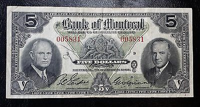 1942 Bank of Montreal $5 Chartered Banknote - Very Scare Year - Nice Grade