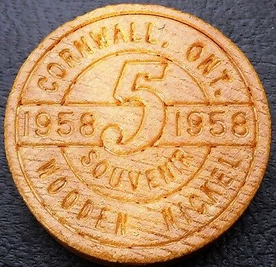 1958 Cornwall Ontario Souvenir Wooden Nickel - Free Combined Shipping